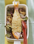 Baked red mullet with herb crust on mushrooms