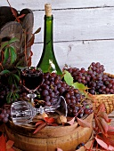 Still life with red wine grapes and a glass of red wine