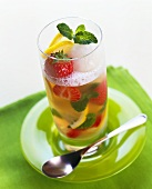 Strawberry and lemon cooler in tall glass
