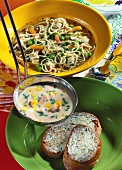 Sweetcorn and sausage soup with herb bread and noodle soup