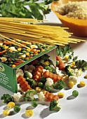 Frozen mixed vegetables and spaghetti