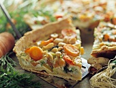 Vegetable quiche with peanuts