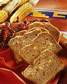 Mexican bread: wholemeal bread with sweetcorn, salami & chilies