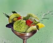 Kiwi fruit sorbet with Aloe and fresh fruit