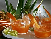 Aloe drink with celery and carrots