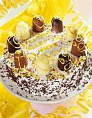 Chocolate marshmallow cake for child's birthday