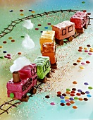 Amusing train cake for children's party
