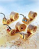 Sponge snails with icing sugar for children