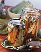 Fennel and carrots in preserving jars