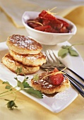 Wheat cakes with rhubarb and strawberries