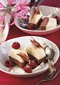 White and dark chocolate parfait with raspberries