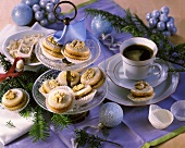 Walnut biscuits with rolled oats for Christmas; coffee