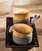 Passion fruit soufflés in baking dish