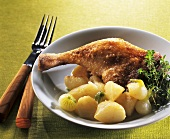 Roast duck leg with white turnips