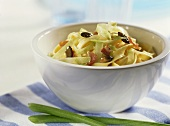 Krautfleckerl (pasta with cabbage) with bacon & pumpkin seeds