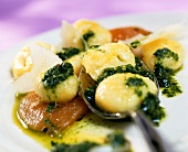 Potato gnocchi with rocket sauce and fried tomatoes