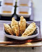 Fried won tons with potato filling