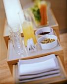 Fitness brunch with orange juice and herb tea