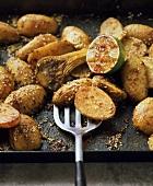 Roast potatoes with sesame, cumin and garlic