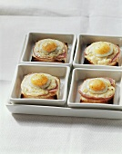 Ham and cheese on toast with quail's egg