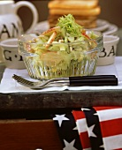 Waldorf salad with mango chutney for brunch (USA)