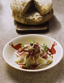 Ticino (Tessin) onion salad with cheese and radicchio