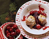 Kipfelkoch (sweet pudding from Austria) with cherries