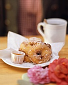 Apple fritters with apricot puree from Bavaria