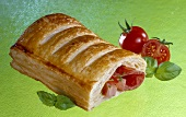 Savoury puff pastry with sausage filling