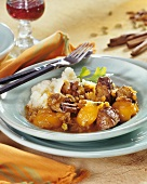 Lamb ragout with apricots, cinnamon and couscous