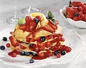 Pancake cake with berries