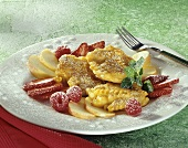 Sweet noodle fritters with fruit
