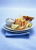Vegetable carpaccio with horseradish dip