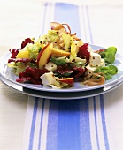 Salad leaves with cheese and nectarines