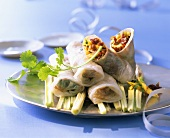 Rice paper rolls with chopped duck