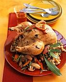 Gefülltes Hähnchen mit Gemüse und Reis