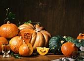 Autumnal pumpkin still life; white wine; pumpkin seeds
