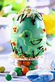 Sweet Easter baking: egg with blue glace icing