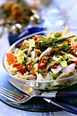 Chicory and pepper salad with mackerel and nuts for Christmas