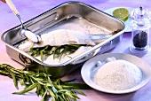 Forelle mit Estragonfüllung und Salzkruste zubereiten