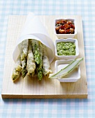 Asparagus in batter with three dips