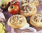 Apple snails with crumble topping on cake rack