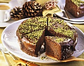 Chocolate and poppy seed cake with pistachios for Christmas