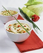 White cabbage soup with peppers and chives