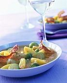 Brussels sprout stew with potatoes and bacon