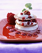 Millefeuille with buttermilk mousse and strawberries