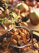 Beef ragout with mushrooms and cranberries