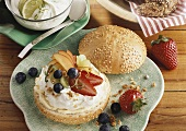 Sesame roll with lime quark and fresh fruit