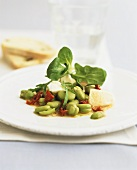 Broad bean salad with dried tomatoes and mozzarella