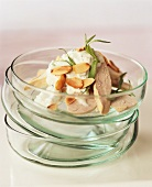 Chicken breast with tarragon, yoghurt and flaked almonds